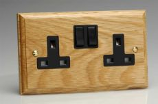 Varilight Kilnwood 2 Gang 13A Switched Socket Oak Black Insert XK5OB